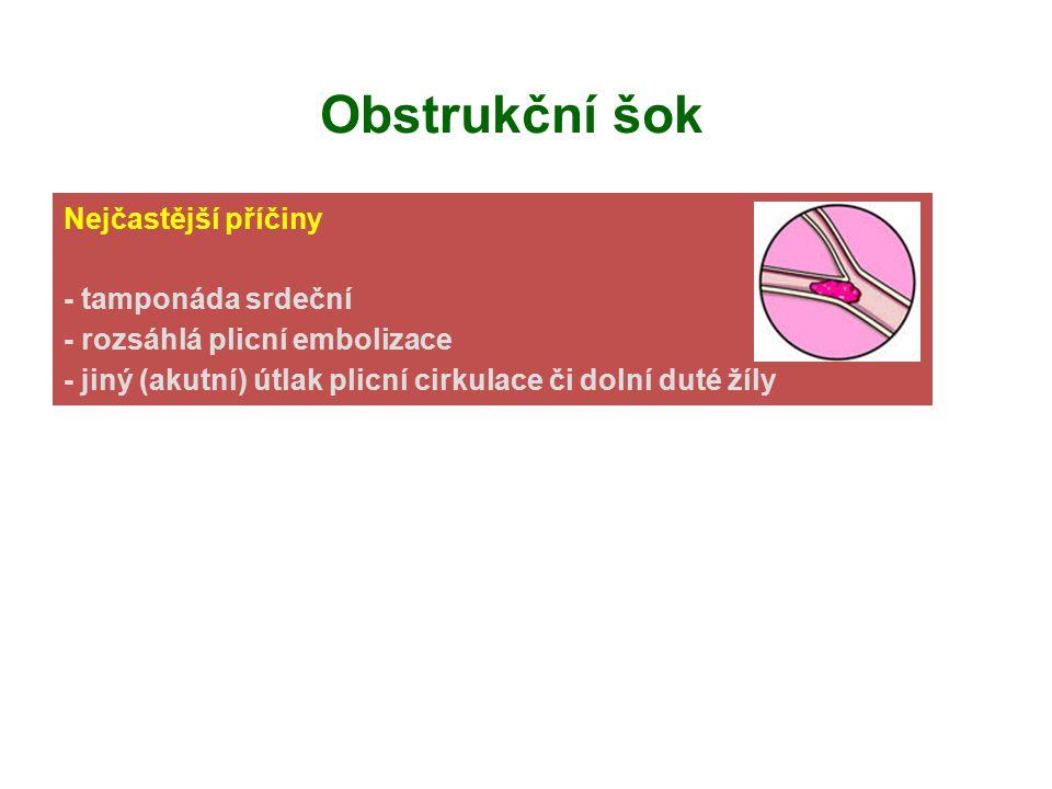 Obstrukční šok Nejčastější příčiny akutní obstrukce: