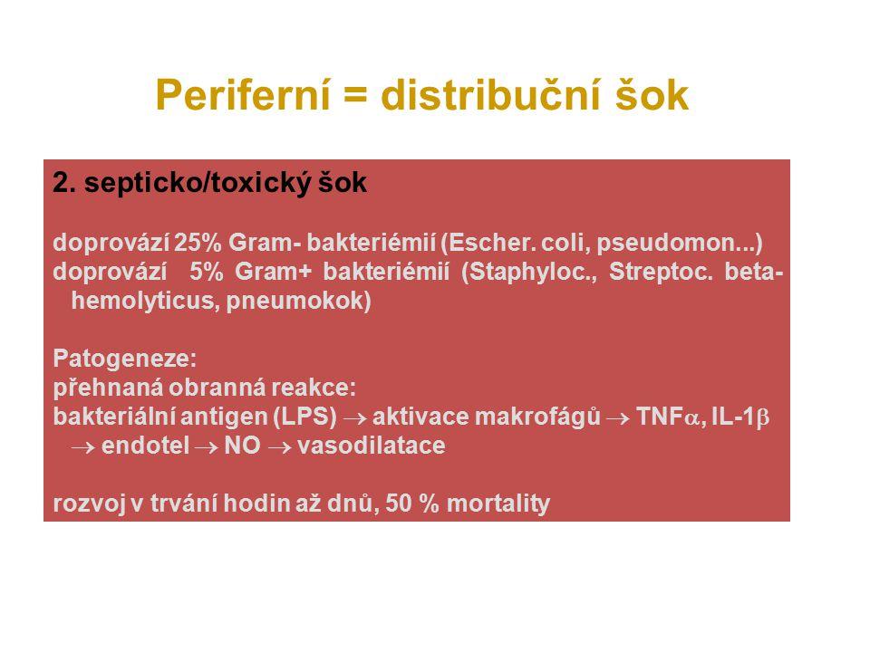 Periferní = distribuční šok