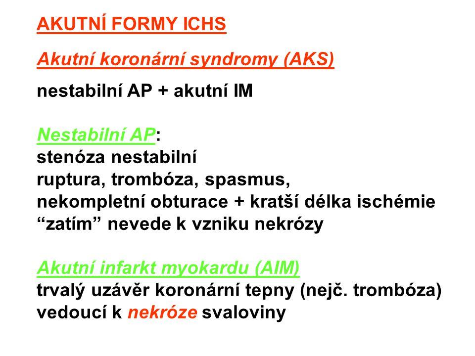 AKUTNÍ FORMY ICHS Akutní koronární syndromy (AKS) nestabilní AP + akutní IM. Nestabilní AP:
