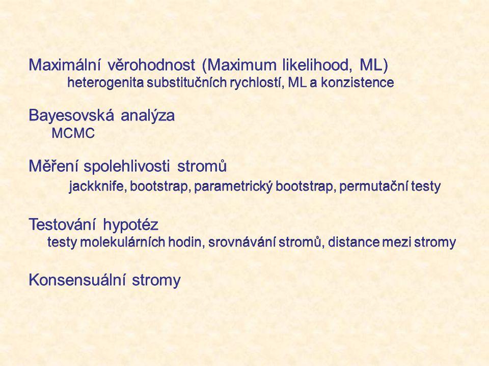 Maximální věrohodnost (Maximum likelihood, ML) heterogenita substitučních rychlostí, ML a konzistence