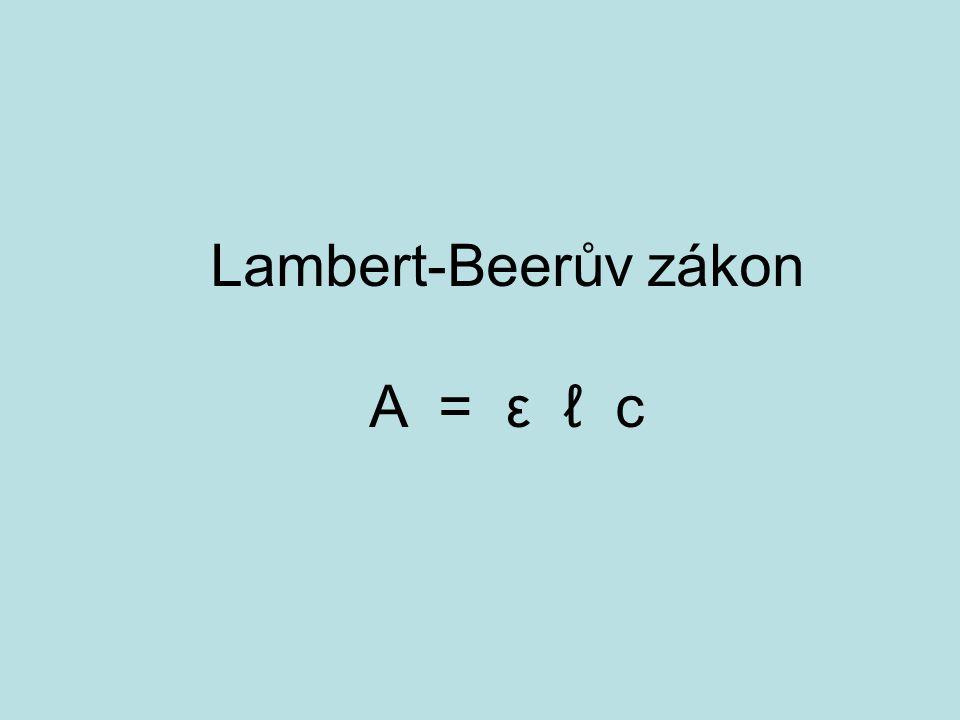 Lambert-Beerův zákon A = ε ℓ c