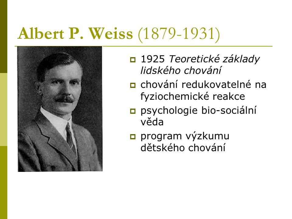 Albert P. Weiss (1879-1931) 1925 Teoretické základy lidského chování