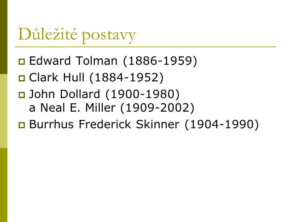Důležité postavy Edward Tolman (1886-1959) Clark Hull (1884-1952)