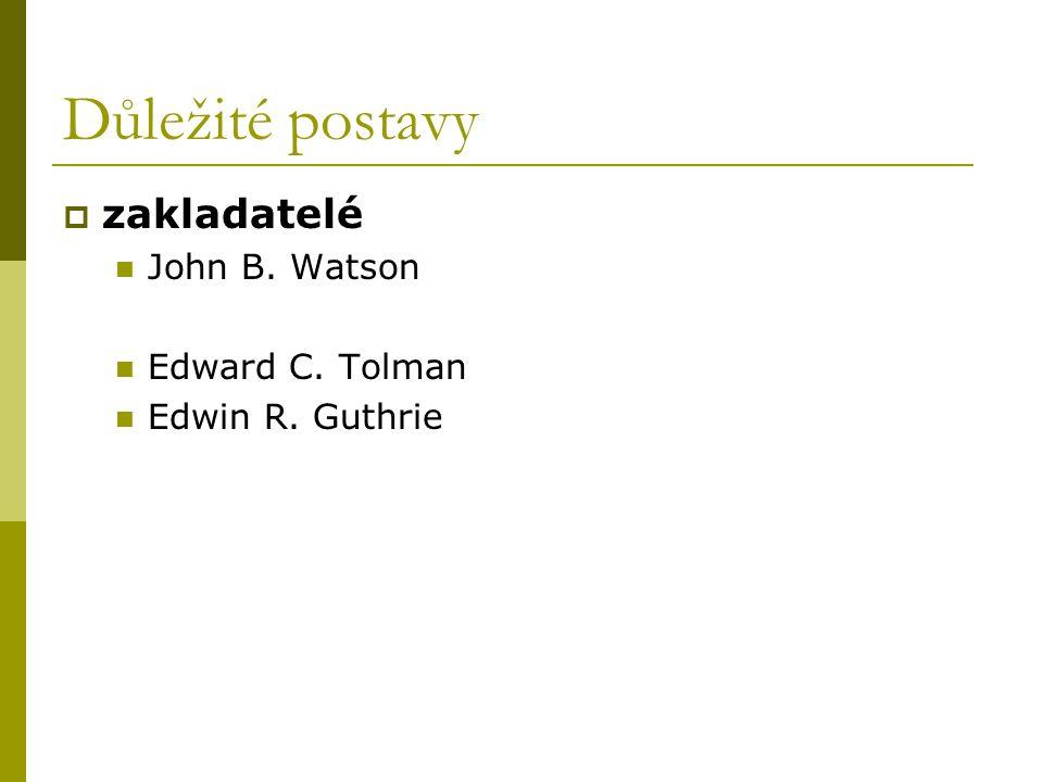 Důležité postavy zakladatelé John B. Watson Edward C. Tolman