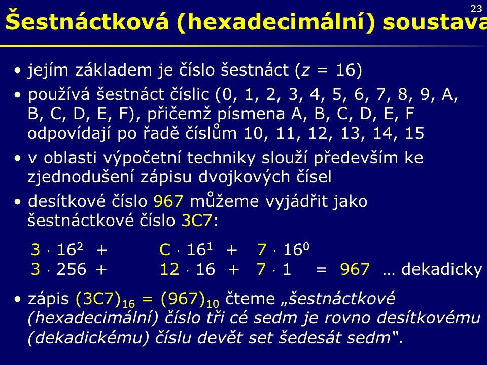 Šestnáctková (hexadecimální) soustava