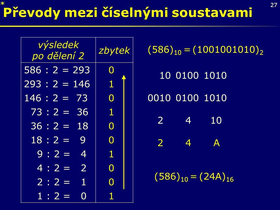 Převody mezi číselnými soustavami