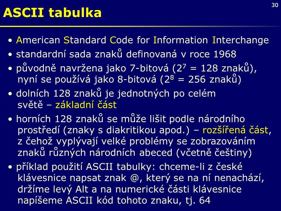 ASCII tabulka American Standard Code for Information Interchange