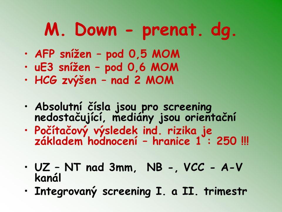 M. Down - prenat. dg. AFP snížen – pod 0,5 MOM