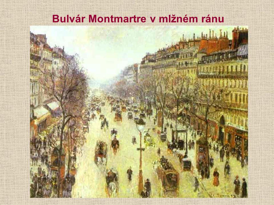 Bulvár Montmartre v mlžném ránu