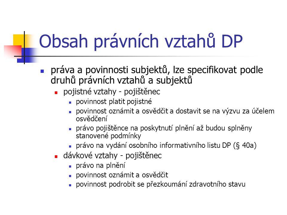 Obsah právních vztahů DP