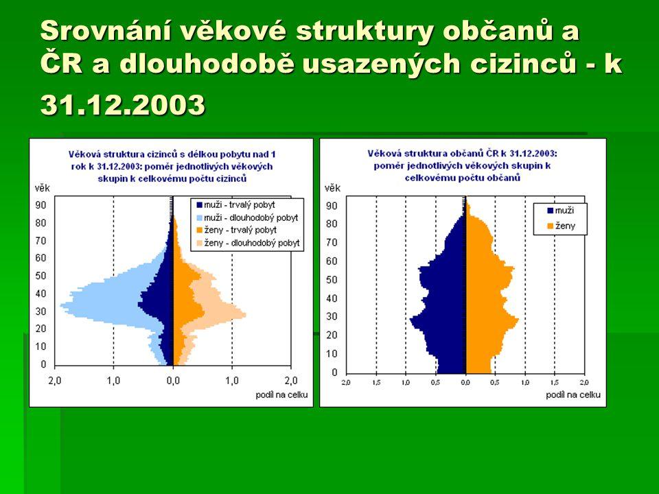 Srovnání věkové struktury občanů a ČR a dlouhodobě usazených cizinců - k 31.12.2003