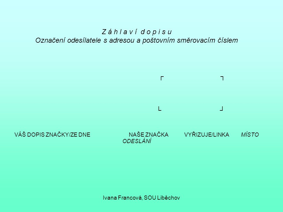 Označení odesílatele s adresou a poštovním směrovacím číslem