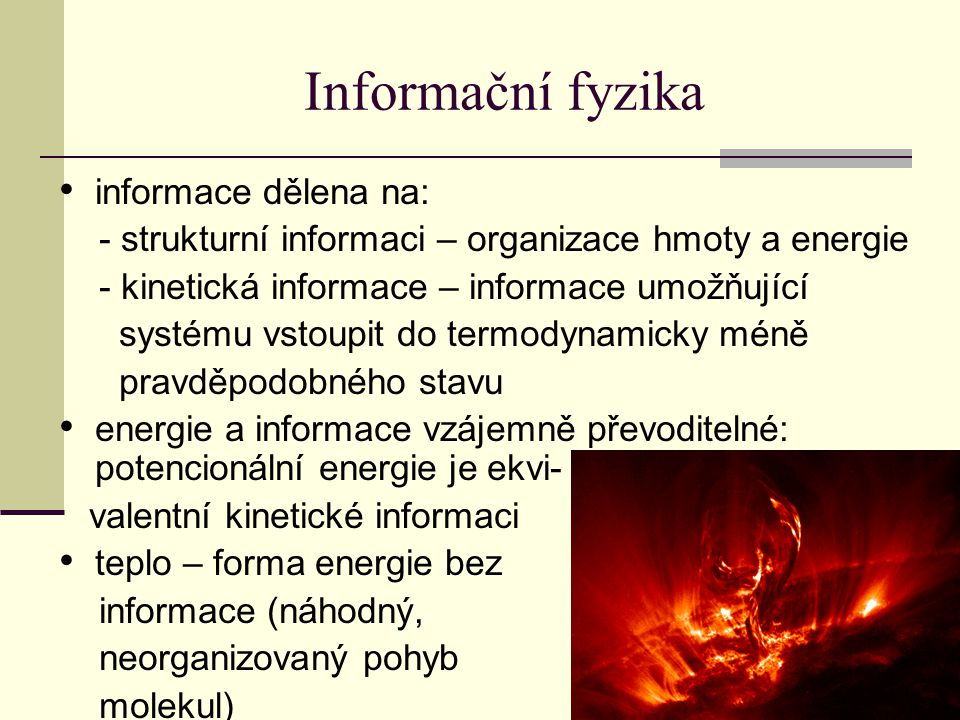 Informační fyzika informace dělena na: