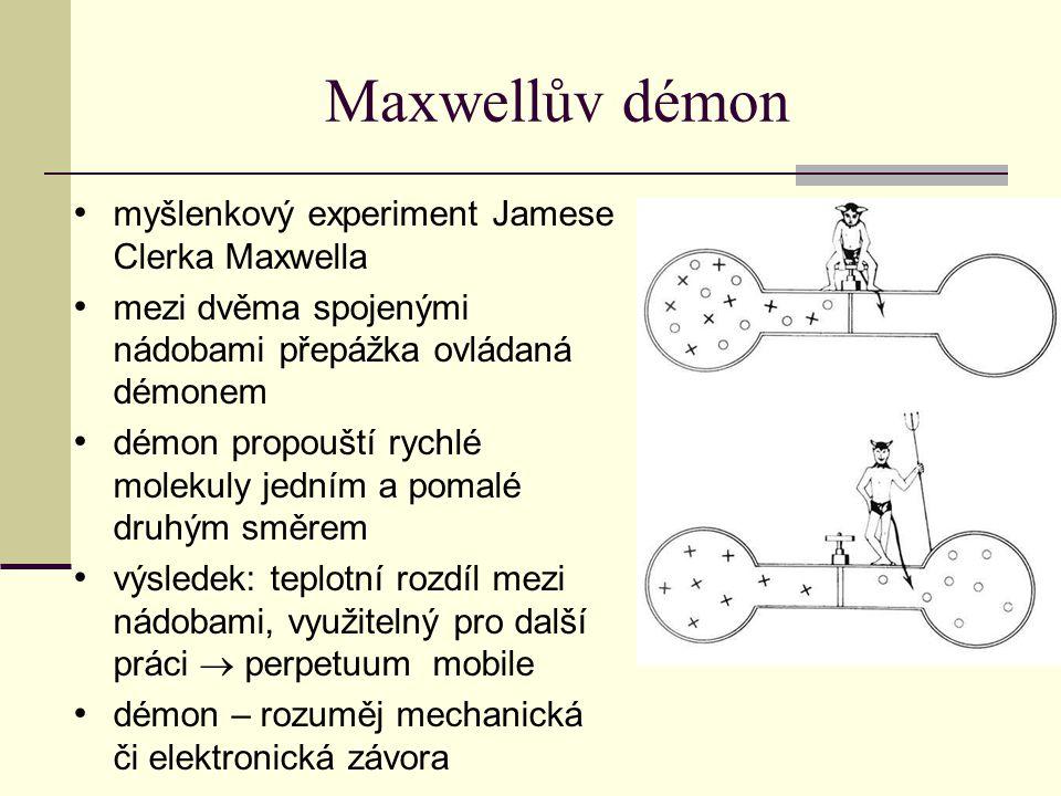 Maxwellův démon myšlenkový experiment Jamese Clerka Maxwella