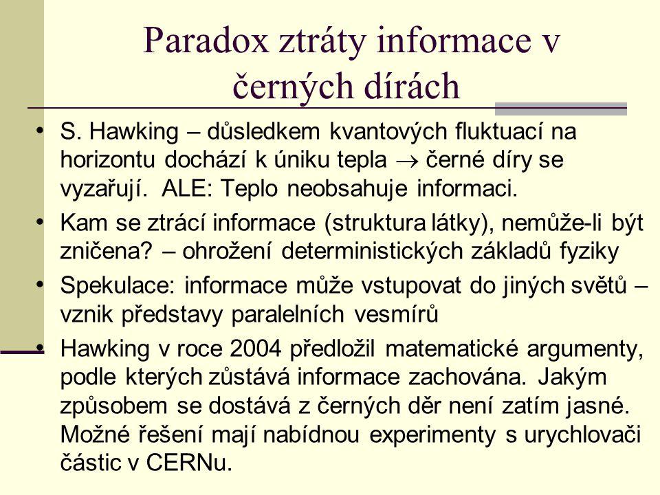 Paradox ztráty informace v černých dírách