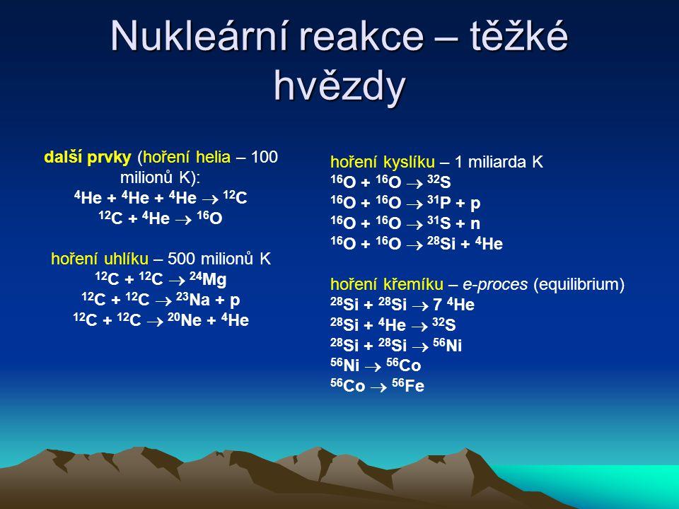 Nukleární reakce – těžké hvězdy