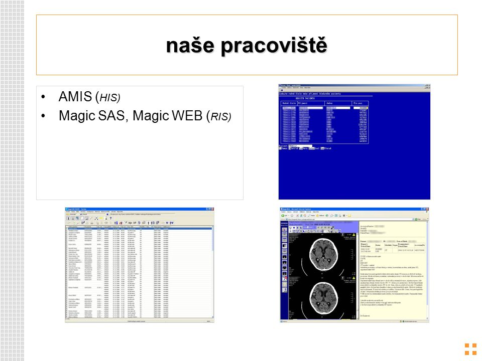 naše pracoviště AMIS (HIS) Magic SAS, Magic WEB (RIS)