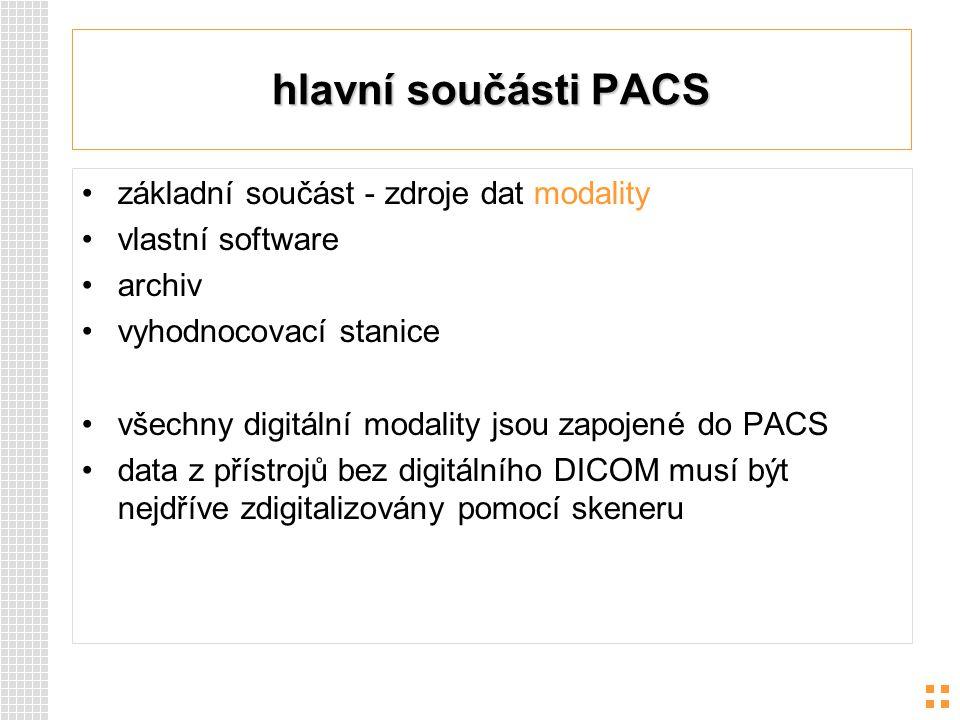 hlavní součásti PACS základní součást - zdroje dat modality