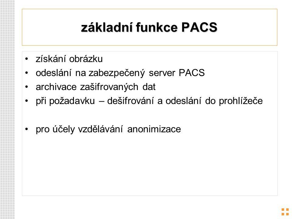 základní funkce PACS získání obrázku