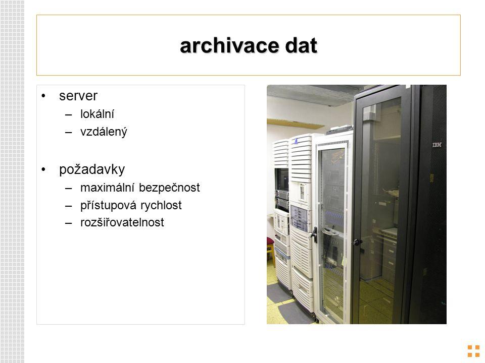 archivace dat server požadavky lokální vzdálený maximální bezpečnost
