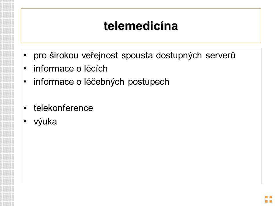 telemedicína pro širokou veřejnost spousta dostupných serverů