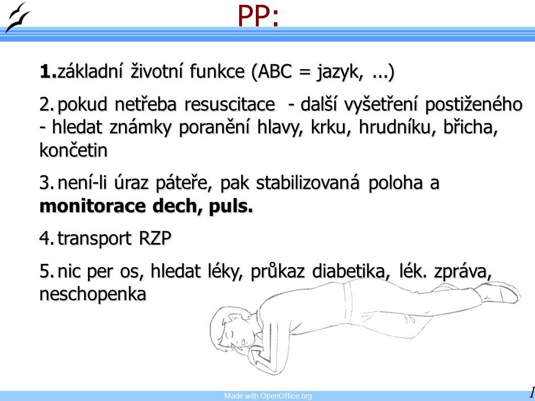 PP: 1. základní životní funkce (ABC = jazyk, ...)