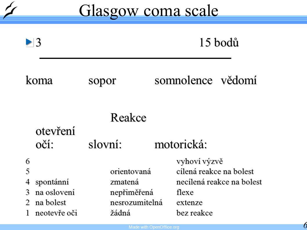 Glasgow coma scale 3 15 bodů koma sopor somnolence vědomí