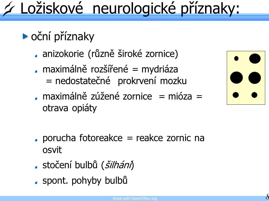 Ložiskové neurologické příznaky: