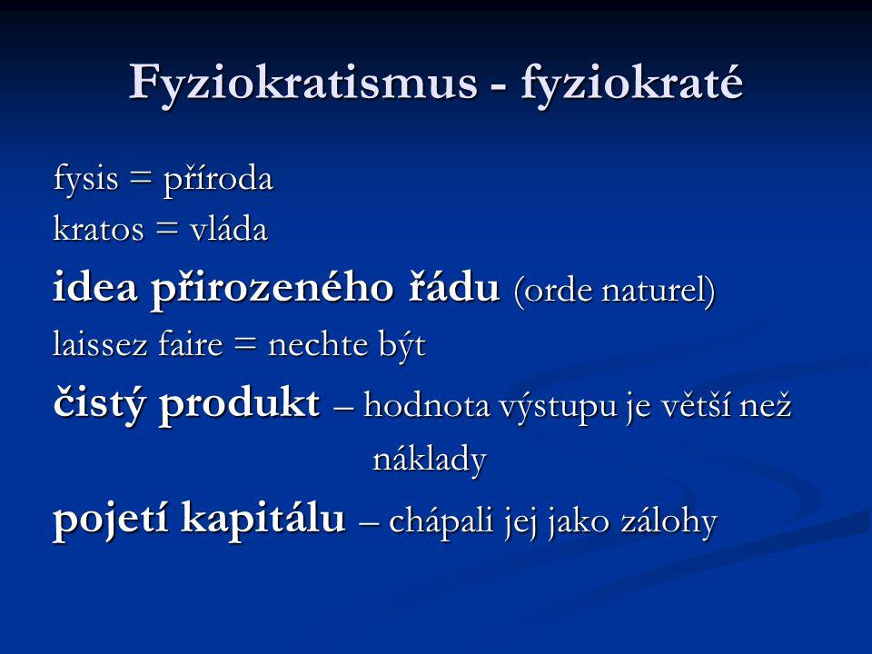 Fyziokratismus - fyziokraté
