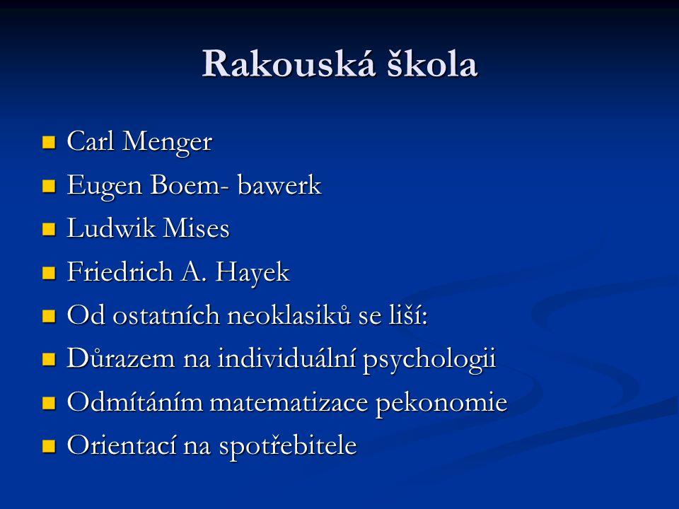 Rakouská škola Carl Menger Eugen Boem- bawerk Ludwik Mises