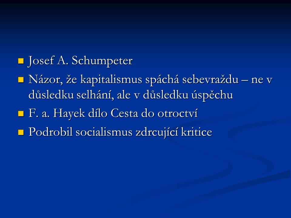 Josef A. Schumpeter Názor, že kapitalismus spáchá sebevraždu – ne v důsledku selhání, ale v důsledku úspěchu.