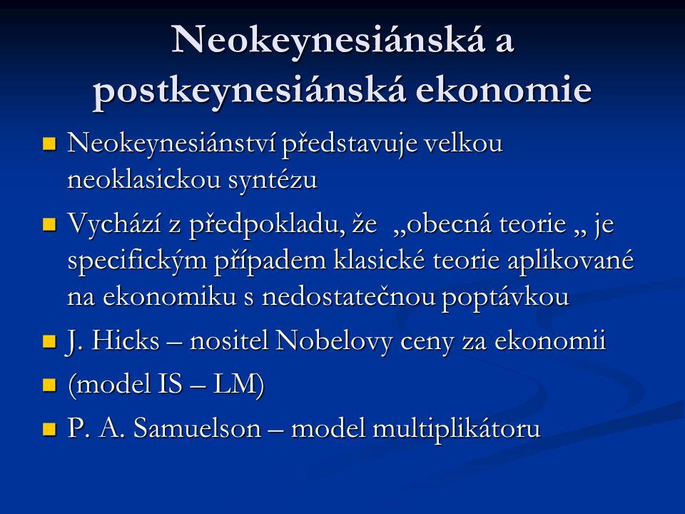 Neokeynesiánská a postkeynesiánská ekonomie