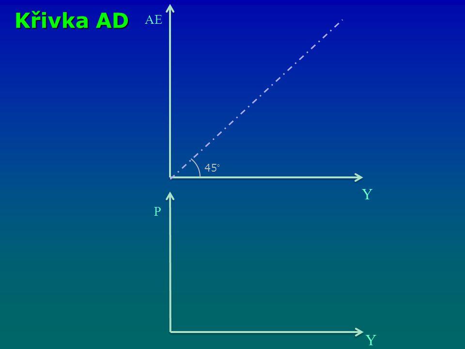 Křivka AD AE Y 45° P Y