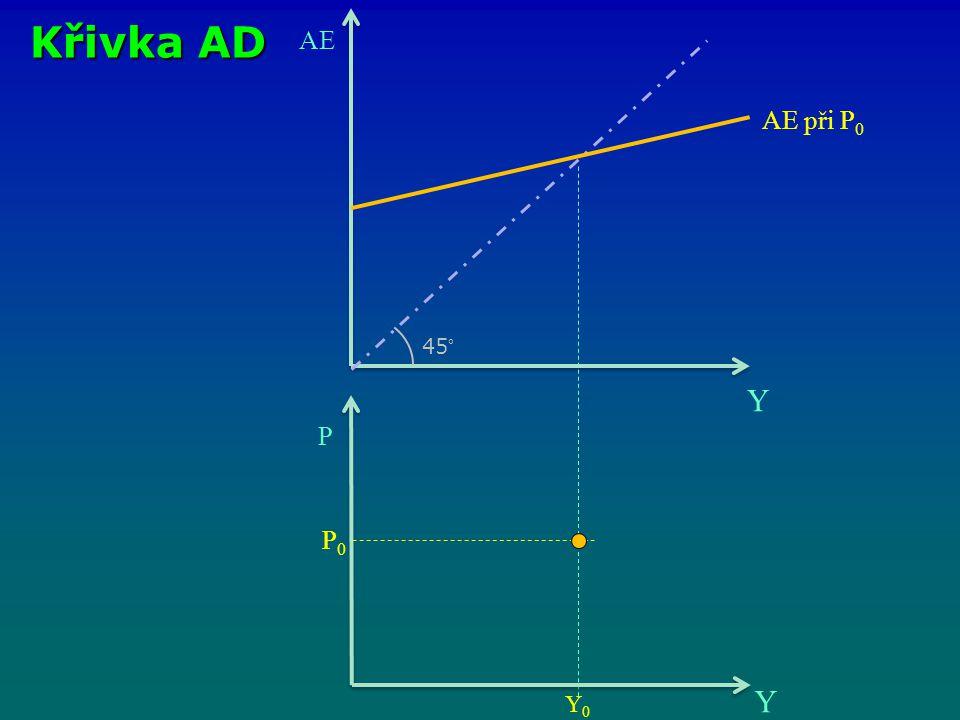 Křivka AD AE Y 45° AE při P0 P P0 Y Y0