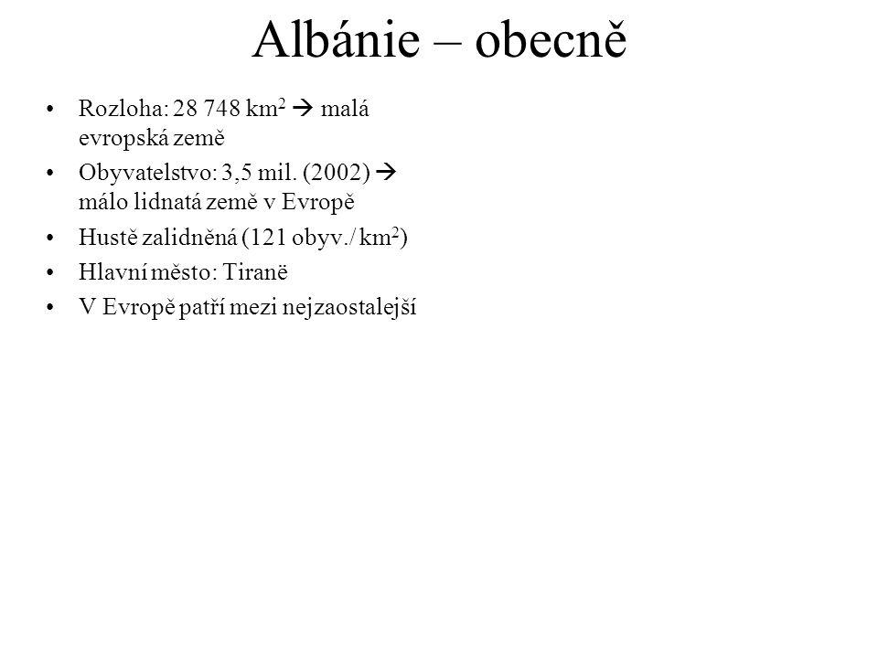 Albánie – obecně Rozloha: 28 748 km2  malá evropská země