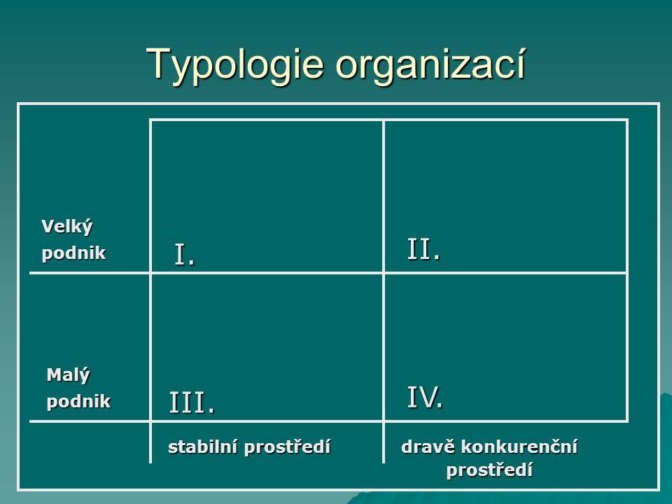Typologie organizací II. I. IV. III. Velký podnik Malý podnik