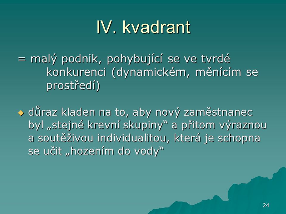 IV. kvadrant = malý podnik, pohybující se ve tvrdé konkurenci (dynamickém, měnícím se prostředí)