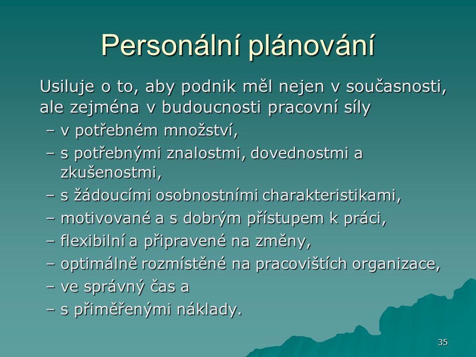 Personální plánování Usiluje o to, aby podnik měl nejen v současnosti, ale zejména v budoucnosti pracovní síly.