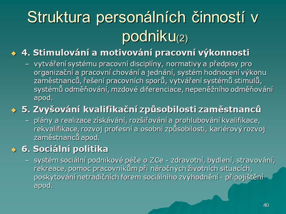 Struktura personálních činností v podniku(2)