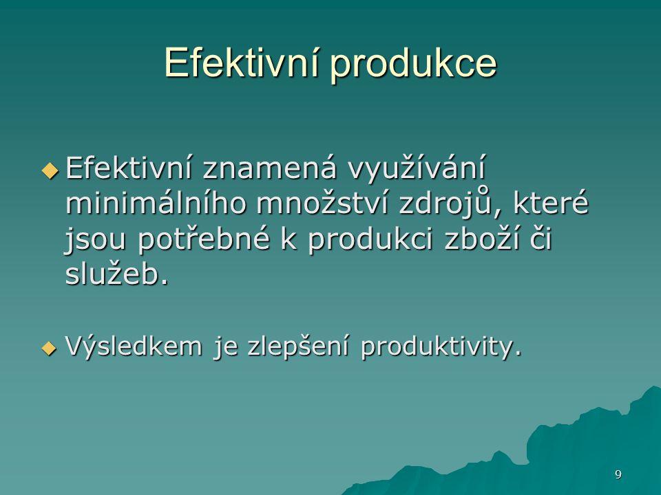 Efektivní produkce Efektivní znamená využívání minimálního množství zdrojů, které jsou potřebné k produkci zboží či služeb.