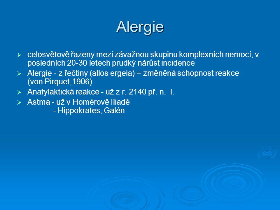 Alergie celosvětově řazeny mezi závažnou skupinu komplexních nemocí, v posledních 20-30 letech prudký nárůst incidence.