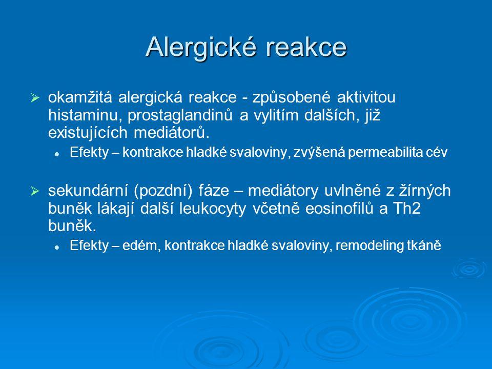 Alergické reakce okamžitá alergická reakce - způsobené aktivitou histaminu, prostaglandinů a vylitím dalších, již existujících mediátorů.