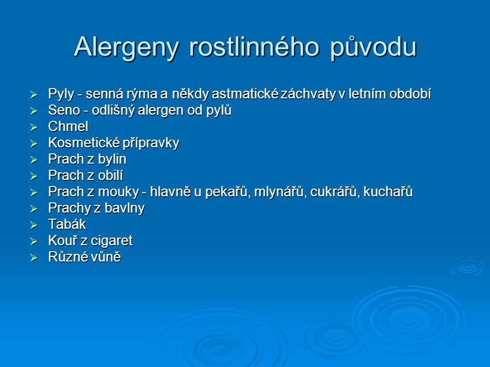 Alergeny rostlinného původu