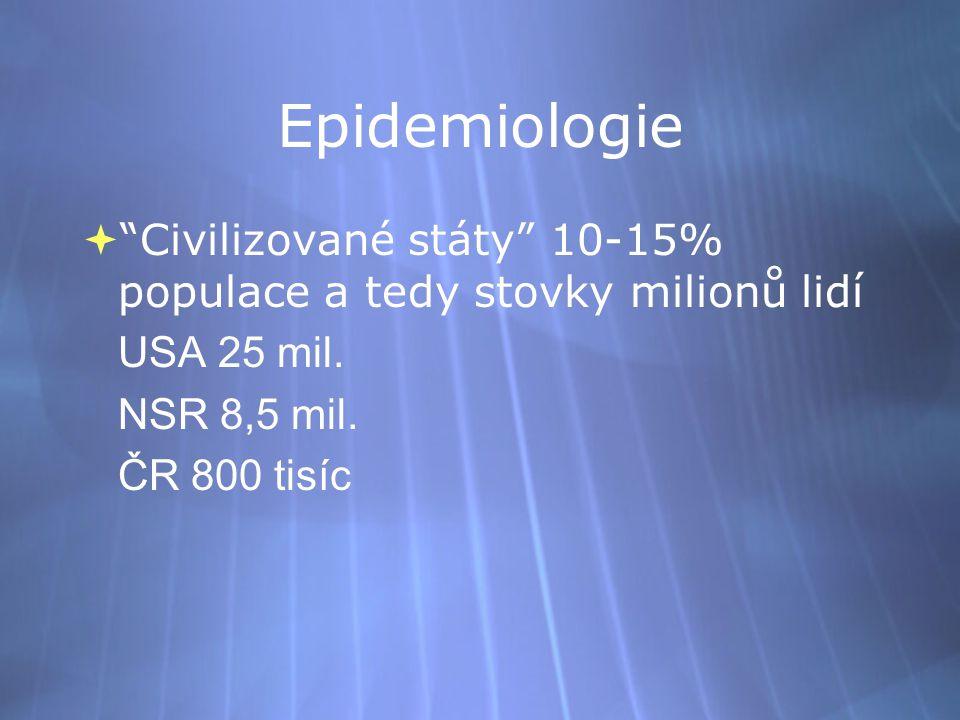 Epidemiologie Civilizované státy 10-15% populace a tedy stovky milionů lidí. USA 25 mil. NSR 8,5 mil.