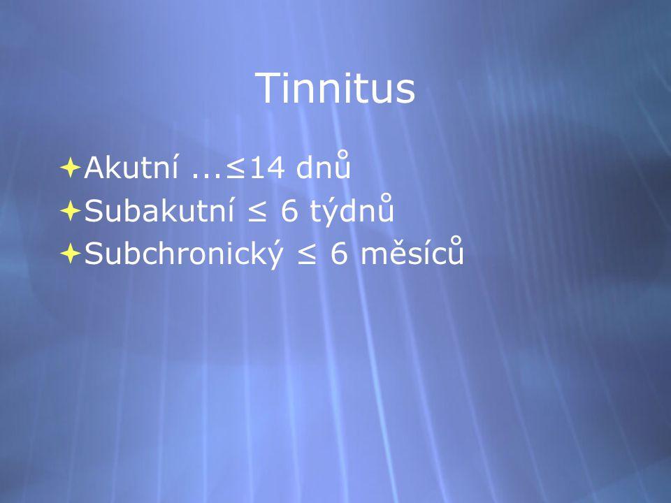 Tinnitus Akutní ...≤14 dnů Subakutní ≤ 6 týdnů Subchronický ≤ 6 měsíců