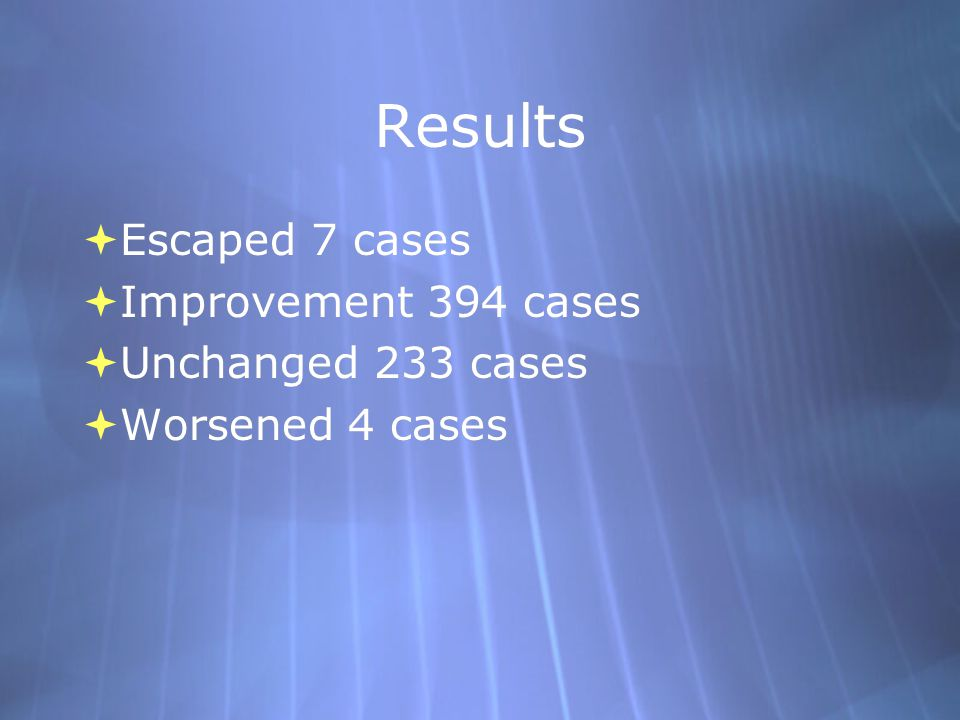 Results Escaped 7 cases Improvement 394 cases Unchanged 233 cases