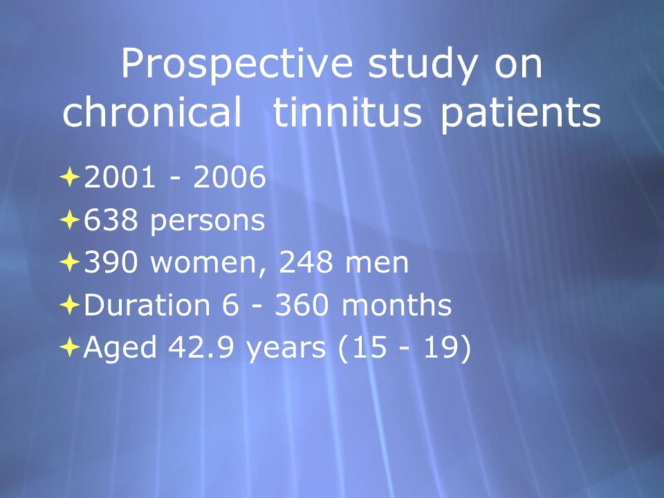 Prospective study on chronical tinnitus patients