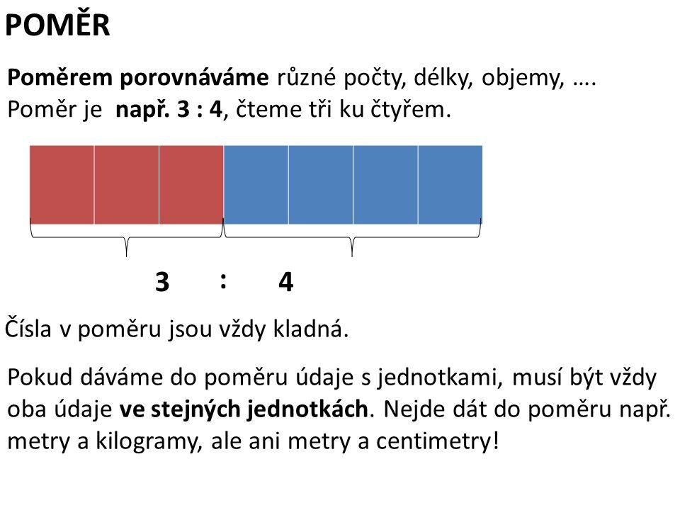 POMĚR 3 : 4 Poměrem porovnáváme různé počty, délky, objemy, ….
