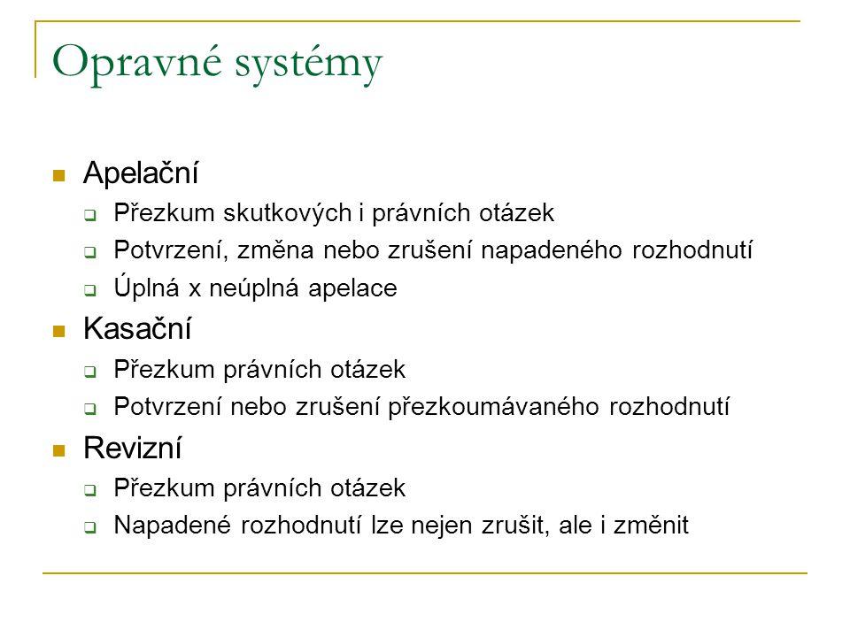 Opravné systémy Apelační Kasační Revizní