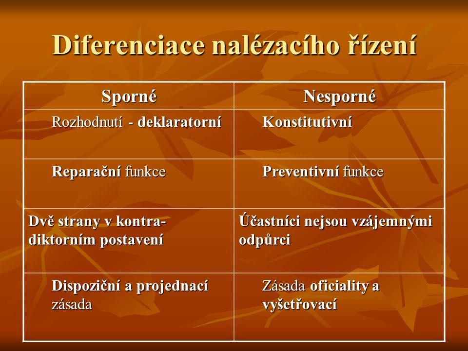 Diferenciace nalézacího řízení